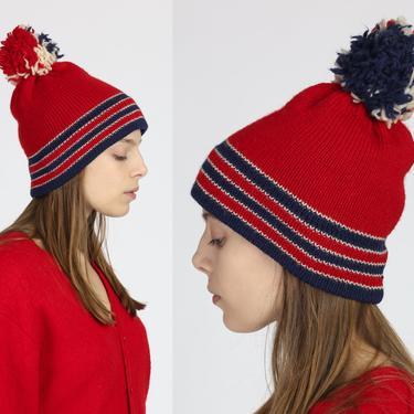 70s Red Striped Knit Pom Pom Beanie - Small to Medium   Vintage Skull Cap Winter Ski Hat by FlyingAppleVintage