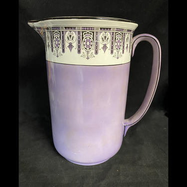 Art Deco Lavender Wash Pitcher Large GEM Shape Minus Basin Swinnertons England by accokeekpickers