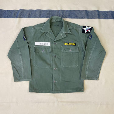 Size S Vintage 1950s US Army 2nd Infantry Division HBT Shirt by BriarVintage