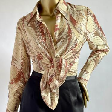 Groovy Button up Blouse 1970's fits XS - M by BeggarsBanquet