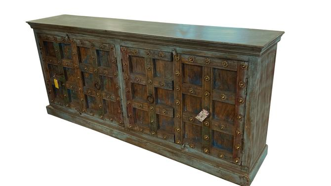 Distressed Turquoise Teak Sideboard with Antique Doors from Terra Nova Designs by TerraNovaLA