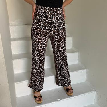 Sexy 1970s Leopard Nylon Zip Back High Waisted Pants 28 Waist Vintage Flared Glam Rock by AmalgamatedShop