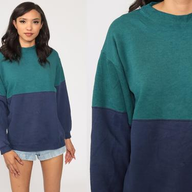 Color Block Sweatshirt 80s Sweater Crewneck Blue Green Graphic Retro Slouchy Pullover Sweat Shirt Vintage Small Medium by ShopExile