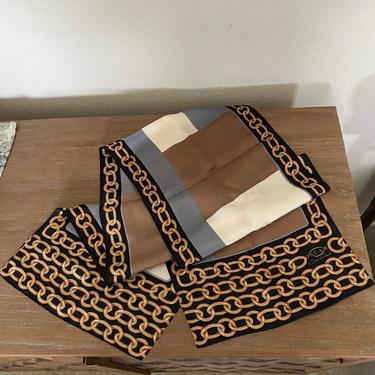 Vintage Oscar de la Renta Long Rectangular Silk Scarf with Chains by DeborahsAntiques