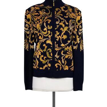 St. John - Navy & Mustard Printed Jacket Sz M
