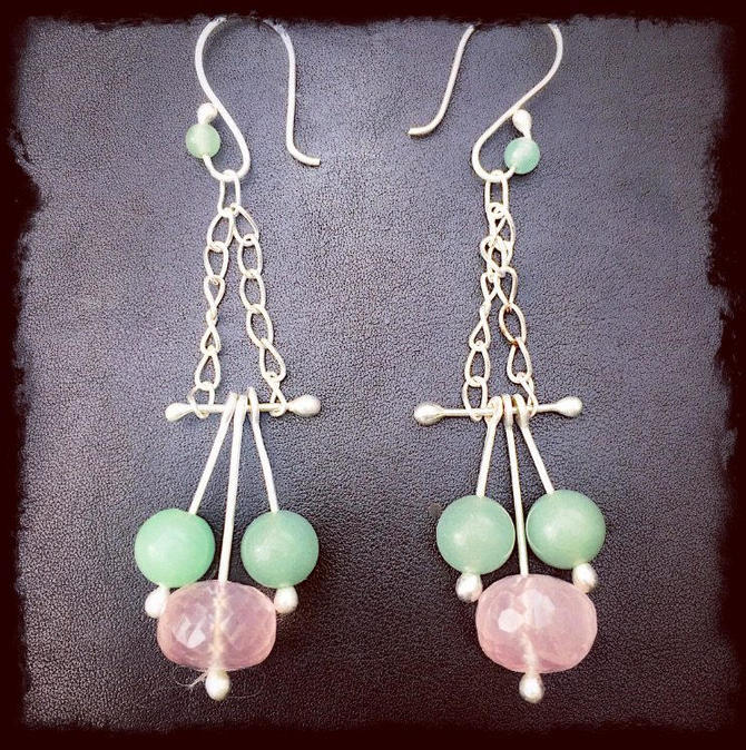 Argentium 935 silver earrings dangle drop rose quartz jade bead handcrafted by JasprCraggJewelry