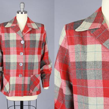 1950s 49ER JACKET | Vintage 40s 50s Grey & Red Plaid Wool Jacket | medium by RelicVintageSF