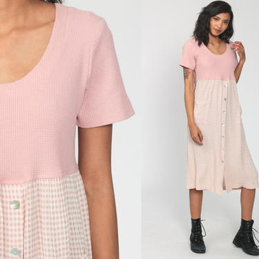 Pink Gingham Dress 90s Grunge Midi PLAID Empire Waist Button Up Checkered Print Vintage Pastel Short Sleeve Waffle Knit Medium 8 by ShopExile