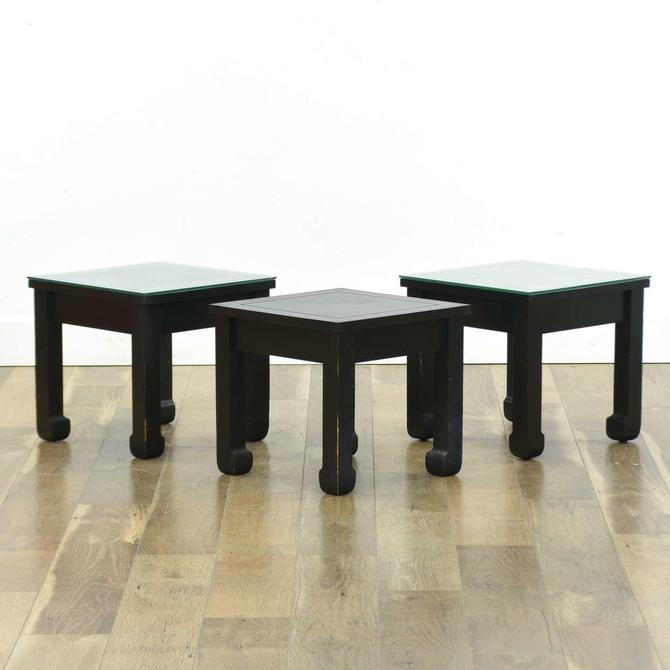 Set 3 Black Mid Century Asian End Tables W 2 Glass Tops