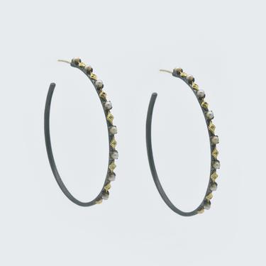 Large Crivelli Pearl Hoop Earrings