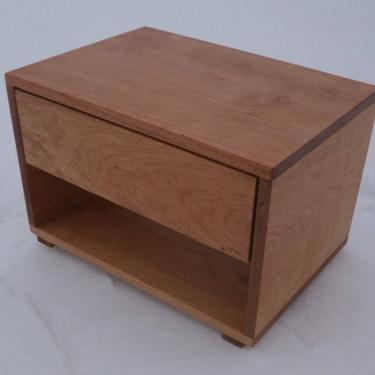 "BT110B Hardwood Bedside Cabinet, 1 Inset Drawer, 1 Shelf, 20"" wide x 14"" deep x 14"" tall - natural color by SolidCherryHeirlooms"