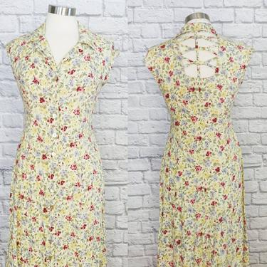 Vintage 90s Floral Dress with Cutout Back // Yellow Button-Up by GemVintageMN