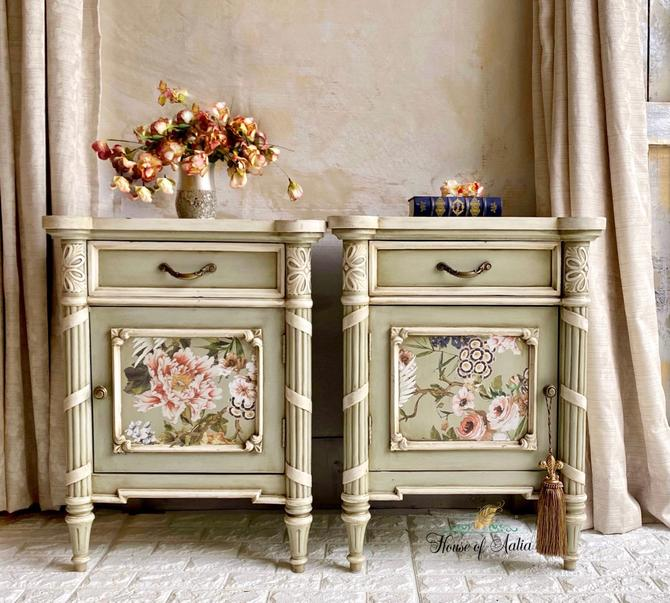 French Country Floral Nightstands. Farmhouse Elegant Tables. French Country Bedside Tables. Cream Nightstands. Carved Tables. by HouseofAalia