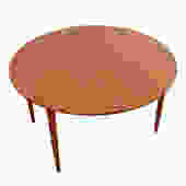 Danish Modern Teak Round Expanding Dining Table by Arne Vodder for Falster