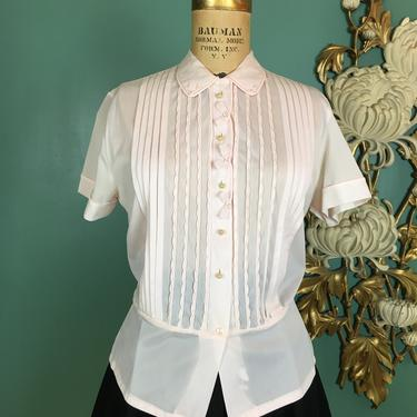 1950s blouse, pale pink nylon, vintage 50s shirt, pin tucked blouse, debcraft, size medium, bows and pearls, 36 bust, rockabilly, mrs maisel by BlackLabelVintageWA
