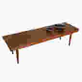 Mid Century Walnut Slat Coffee Table \/ Bench