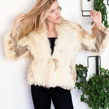 1970s Rare Furs by Mannis Curly Lamb + Suede Drawstring Jacket in Cream + Beige XS S M Mongolian 70s by backroomclothing