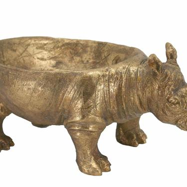 Large Gold Rhino Bowl