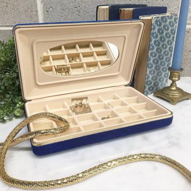 Vintage Jewelry Box Retro 1980s Blue Velvet + Rectangle + Jewelry Storage + 24 Compartments + Organization + Home and Vanity Decor by RetrospectVintage215