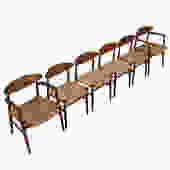 Set of 6 Early Danish Teak Cord Seat Dining Chairs