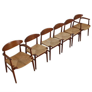 Set of 6 Early Danish Teak Cord Seat Dining Chairs. Modern Mobler   ATTIC