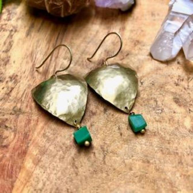 Shield Earrings with Green Onyx