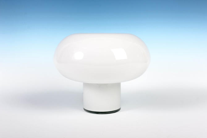 Mod White Cased Glass Mushroom Lamp - Pukeberg, Sweden - Panton Era by ThePapers