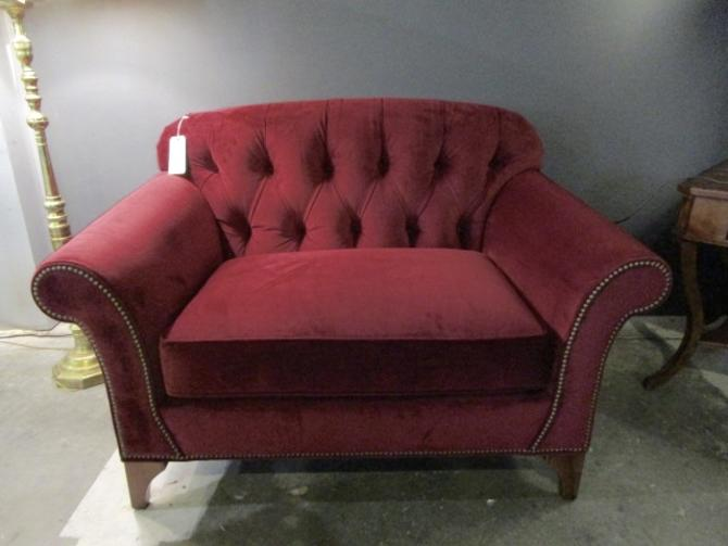 ARHAUS CHAIR AND A HALF IN WINE RED PERFORMANCE VELVET FABRIC WITH NAILHEAD TRIM