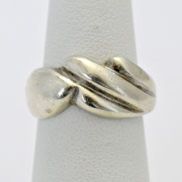 60's 925 silver geometric swish artisan made unusual hippie ring, handsome asymmetrical sterling Modernist frond size 7 band, marked NF by BetseysBeauties