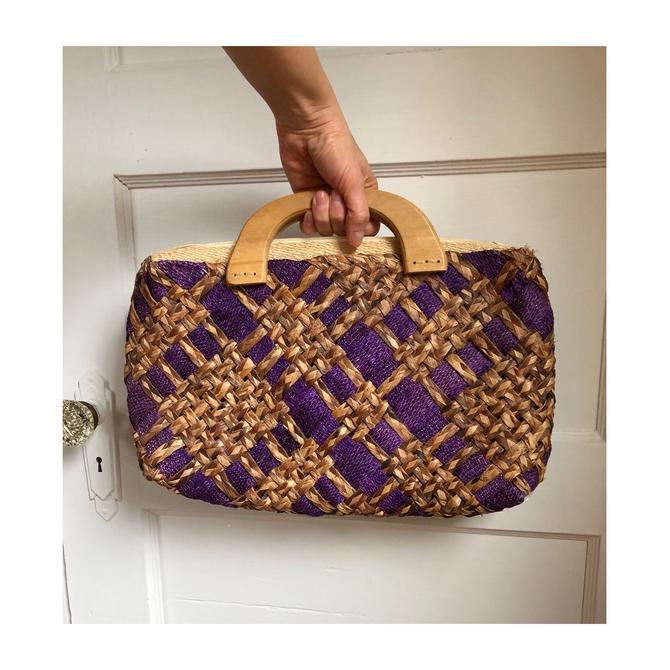 1960s Purple Woven Raffia Handbag Purse with Wooden Handles and Zipper by VeeVintageShop