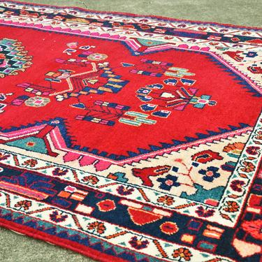 """Vintage Hand Knotted Persian Hamadan Style Area Rug with Hot Pink and Deep Red  -  4' 9"""" x 8' 10"""" by SourcedModern"""