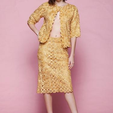 raffia skirt suit top dress set outfit woven straw floral lace gold yellow scallop edges vintage 50s SMALL S by shoprabbithole