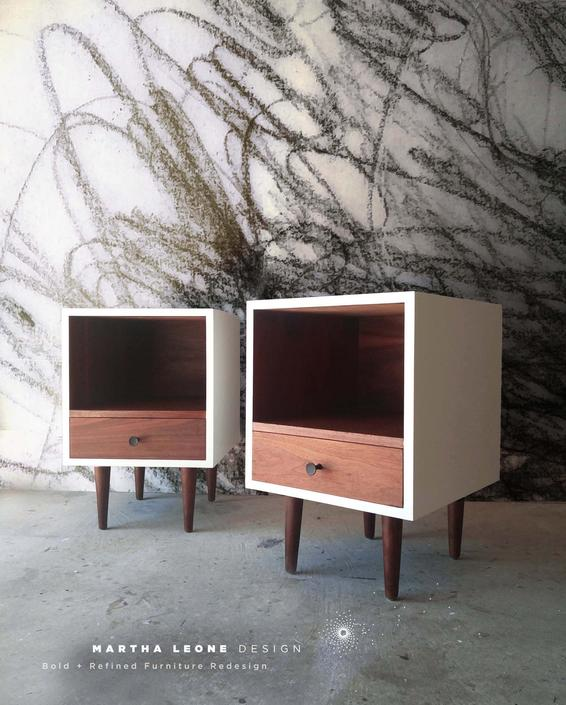 Pair of Mid Century Nightstands / Endtables  SAMPLE by MarthaLeoneDesign