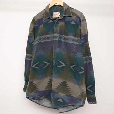 SOUTHWEST ikat woolrich brand faded vintage MEN'S FLANNEL twin peaks 90s nirvana shirt -- size large -- great condition by CairoVintage