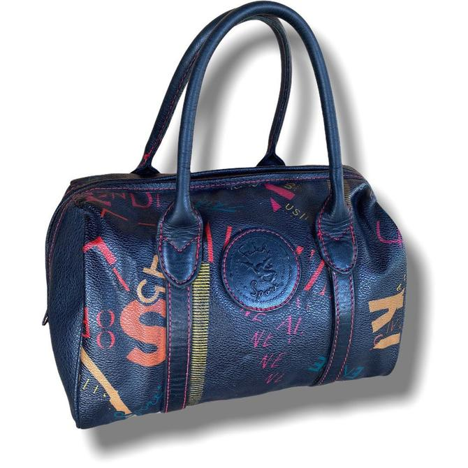 Vintage Carlos Falchi Top Handle Doctors Bag with Abstract Graffiti Print Speedy Falchi Sport by TheUnapologeticSoul