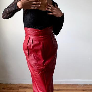 Vintage 80s Red Leather Long Pencil Skirt Yoke Small XS 1980s 1990s 90s by ErraticStaticVintage