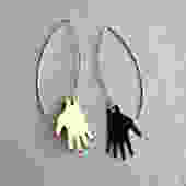 Brass and Sterling Silver Hand Dangle Earrings by RachelPfefferDesigns
