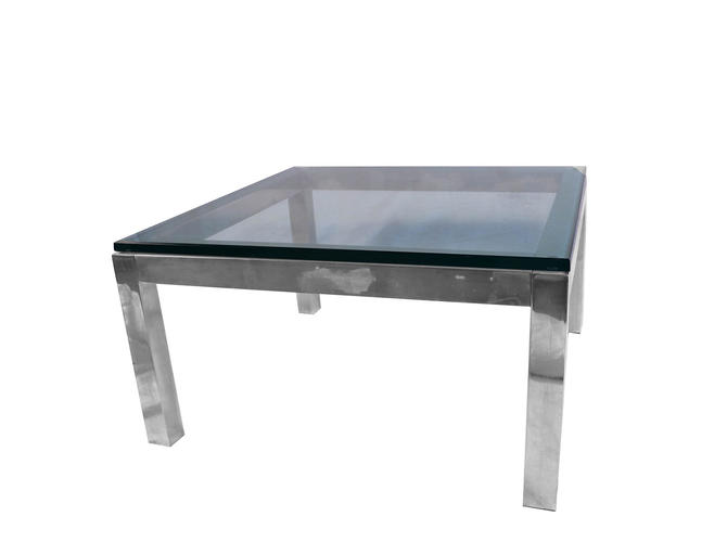 Mid Century Modern Chrome & Glass Coffee Table Milo Baughman Style by Marykaysfurniture