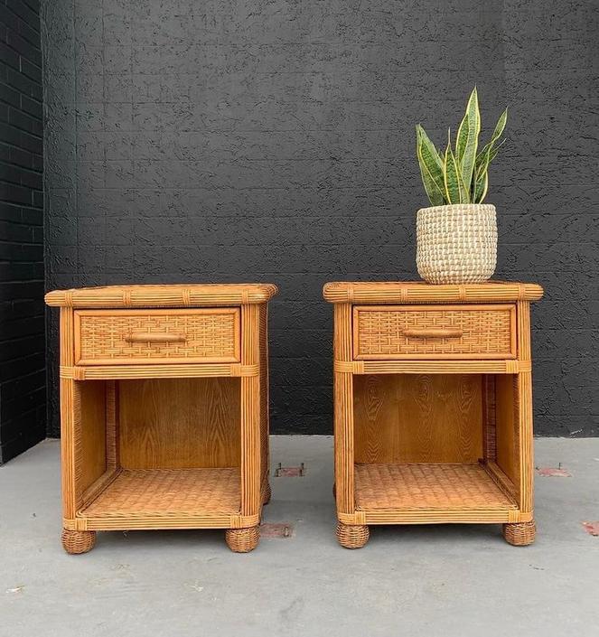 Vintage Split Reed and Wicker Bedside Table Set