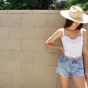 Levi's 501 Cutoffs // vintage 80s USA boho denim jean hippie hippy cut offs dress cut-offs shorts medium wash jeans cut 29 // S Small 26 by FenixVintage