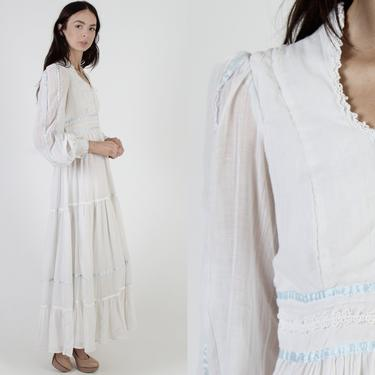 Gunne Sax Bridal Maxi Dress / Jessica MClintock Ivory Lace Dress With Corset / Tiered Long Simple Wedding Gown / Billowy Poet Sleeves by americanarchive