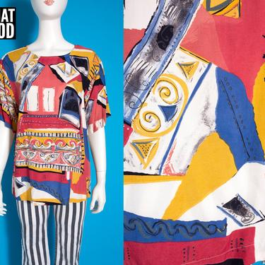 DEADSTOCK Vintage 80s 90s Modernist Abstract Art Short Sleeve Blouse by RETMOD