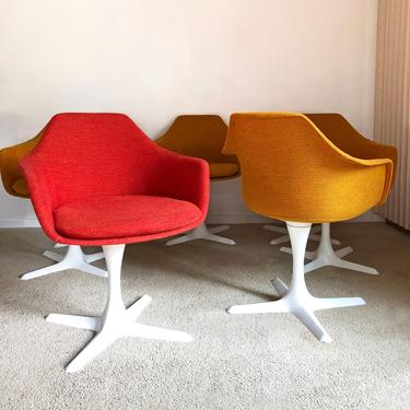 vintage mid century Burke propeller tulip dining chairs upholstered fiberglass arm shell chair set XLNT by TripodModern