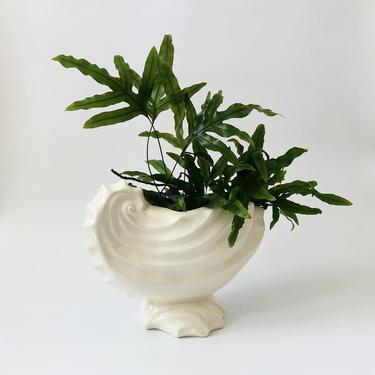 Large Vintage 1980s Ceramic Shell Planter by SergeantSailor