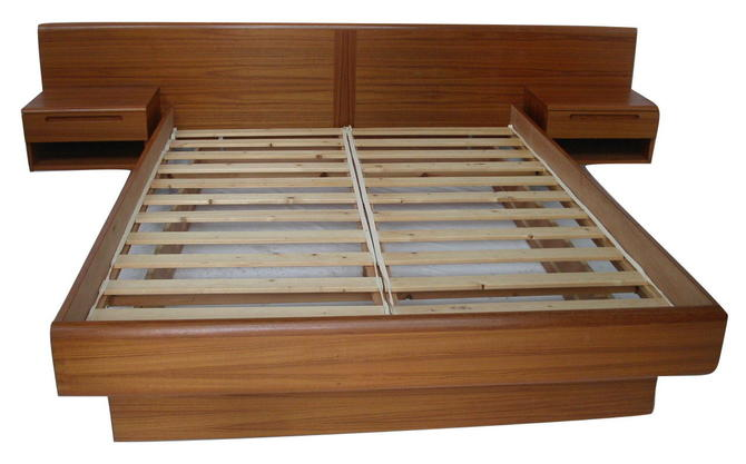 Teak Danish Modern Queen Sz Platform Bed, Floating Nightstands by Jesper Denmark