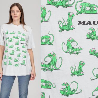 90s Lizard Animal Sex Maui Tourist Tee - Large   Vintage Hawaiian Islands Funny Graphic T Shirt by FlyingAppleVintage