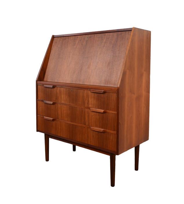 Walnut Desk Drop Front Gunnar Nielsen Tibergaard Danish Modern by HearthsideHome