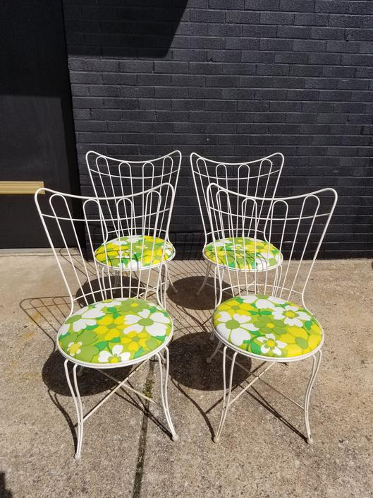 Set of 4 Homecrest Patio Chairs w/ retro upholstery