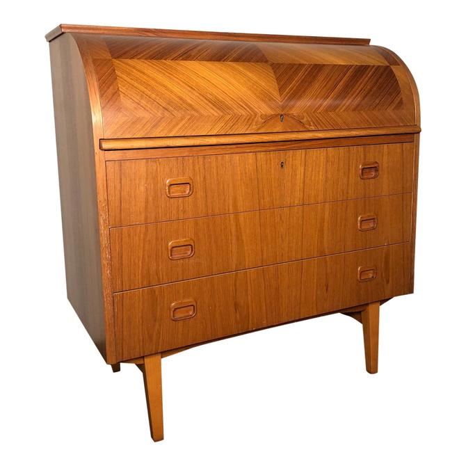 Mid Century Modern Swedish Scandinavian Teak Rolltop Desk by RetroPassion21