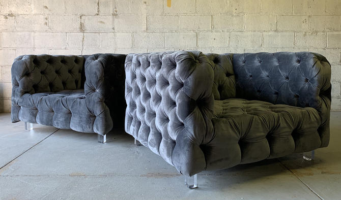 Modern + Large TUFTED Contemporary LOUNGE Club Chairs / ARMCHAIRS by CIRCA60